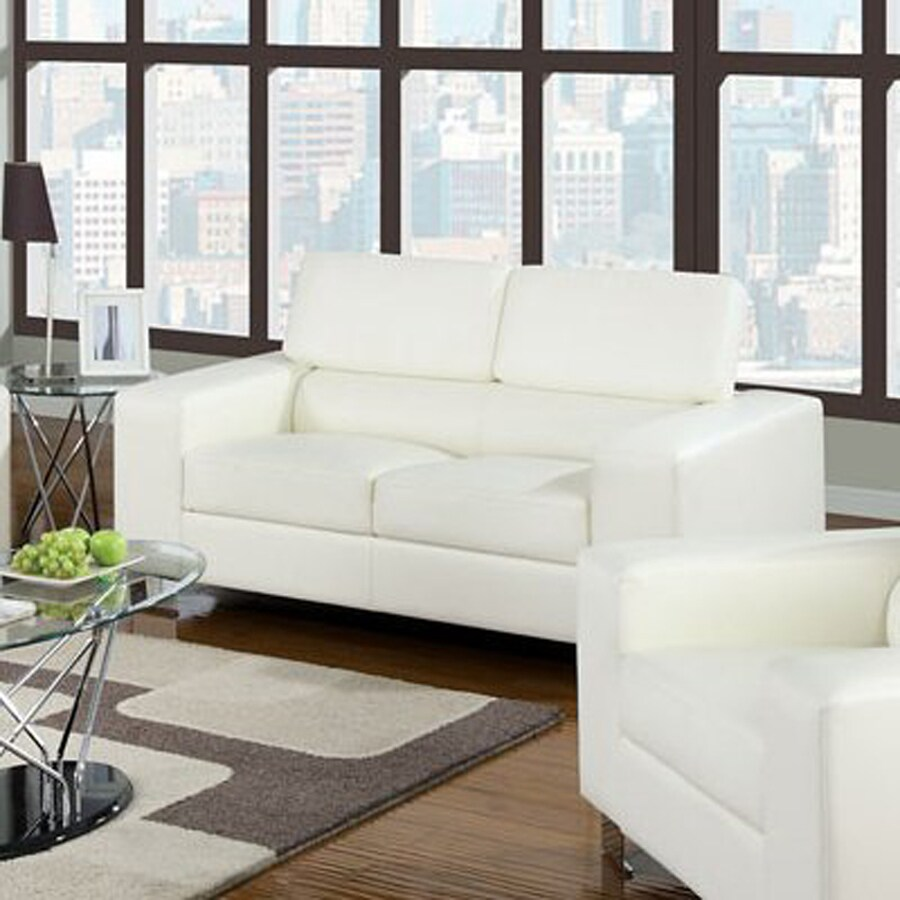 Furniture of America Makri Casual White Faux Leather Loveseat