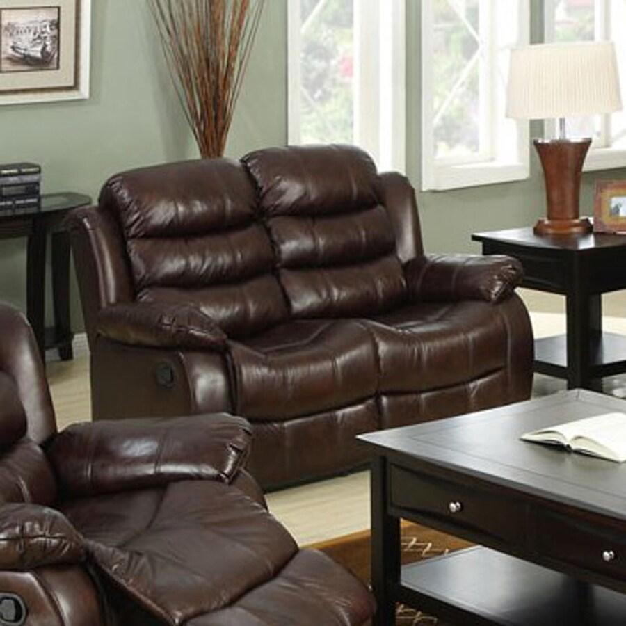 Furniture of America Berkshire Casual Dark Brown Faux Leather Reclining Loveseat