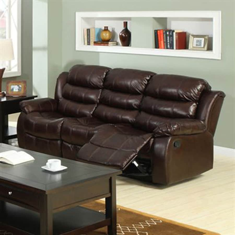 Furniture Of America Berkshire Casual Dark Brown Faux Leather Reclining Sofa
