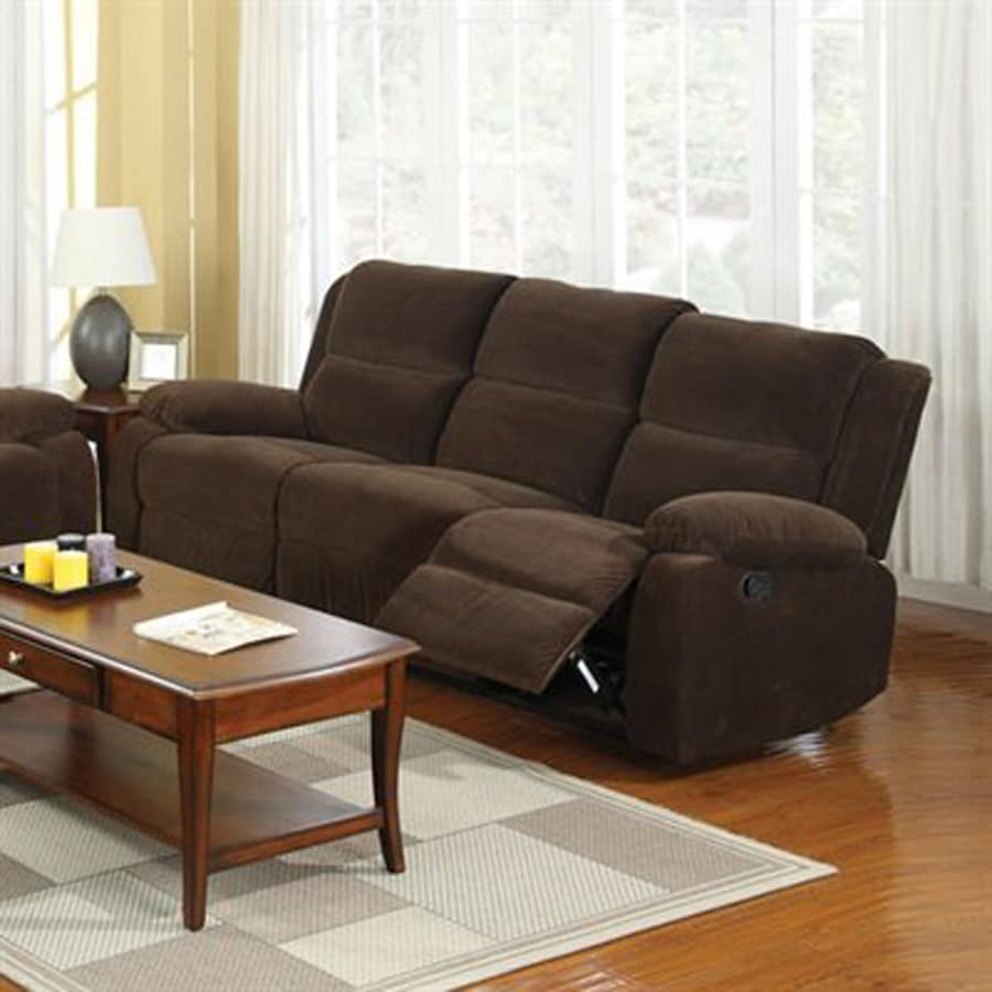 Furniture Of America Haven Casual Dark Brown Cotton Reclining Sofa