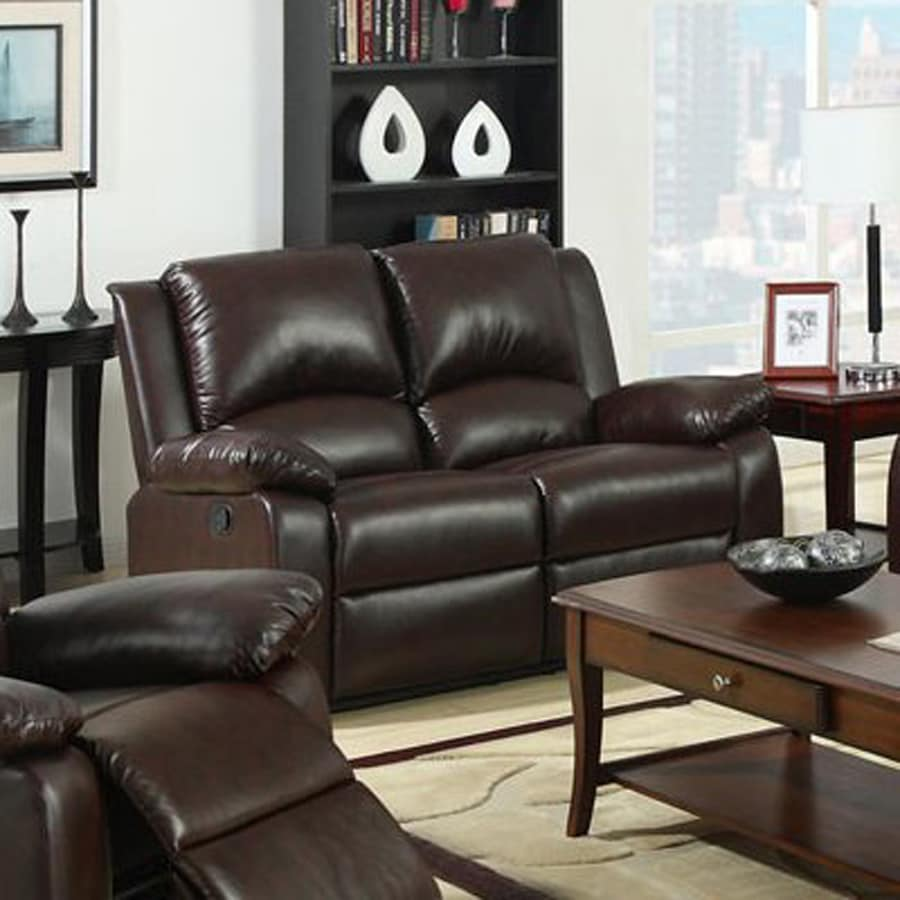 Furniture of America Oxford Casual Rustic Dark Brown Faux Leather Reclining Loveseat