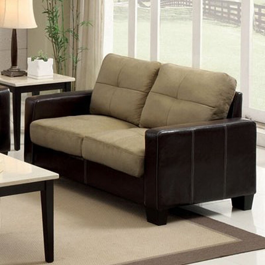 Furniture of America Laverne Casual Dark taupe/Espresso Faux Leather Loveseat