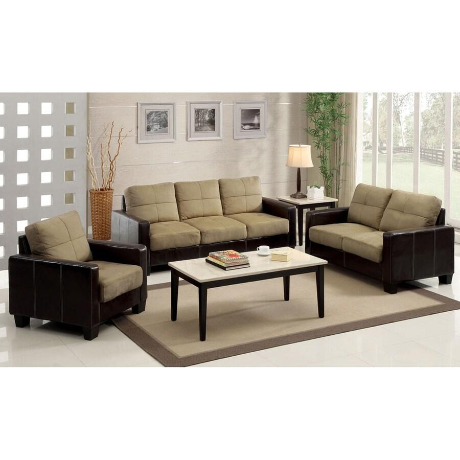 Furniture Of America Laverne Casual Dark Taupe Espresso Faux Leather Sofa