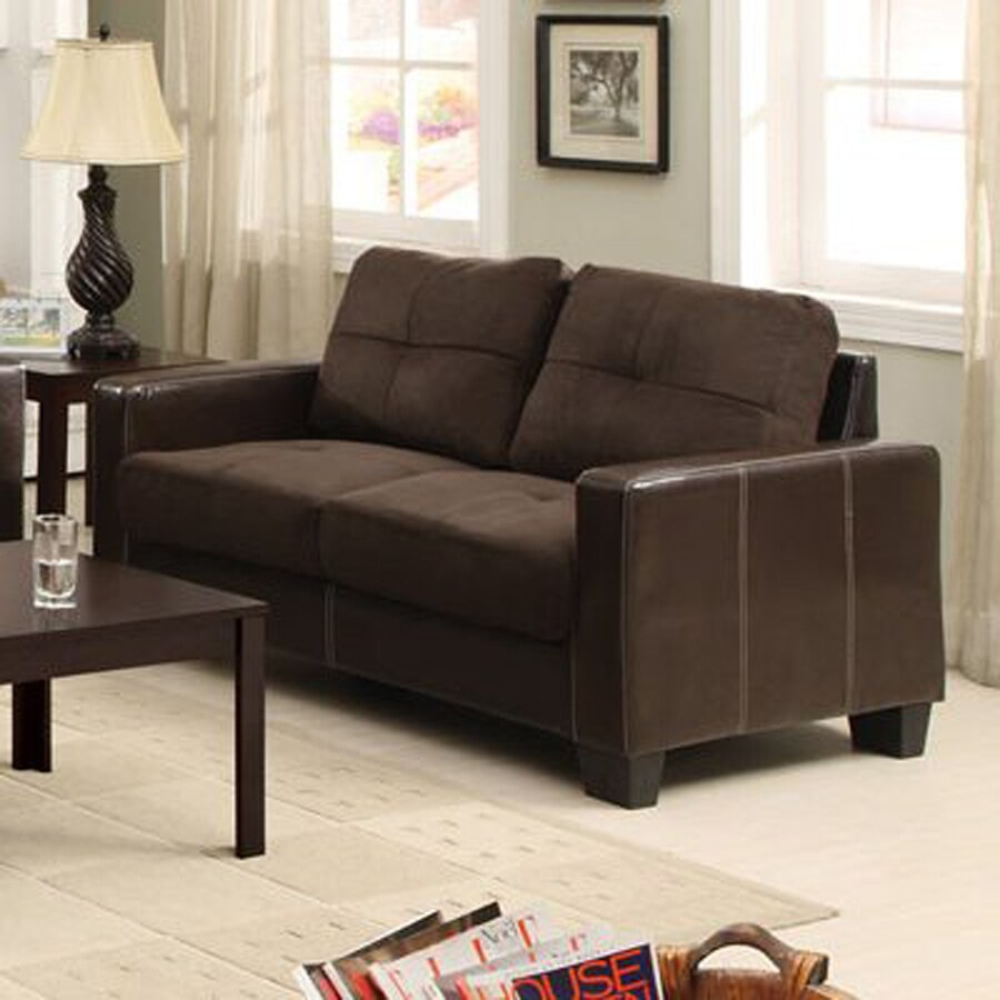 Furniture of America Laverne Casual Dark Brown/Espresso Faux Leather Loveseat