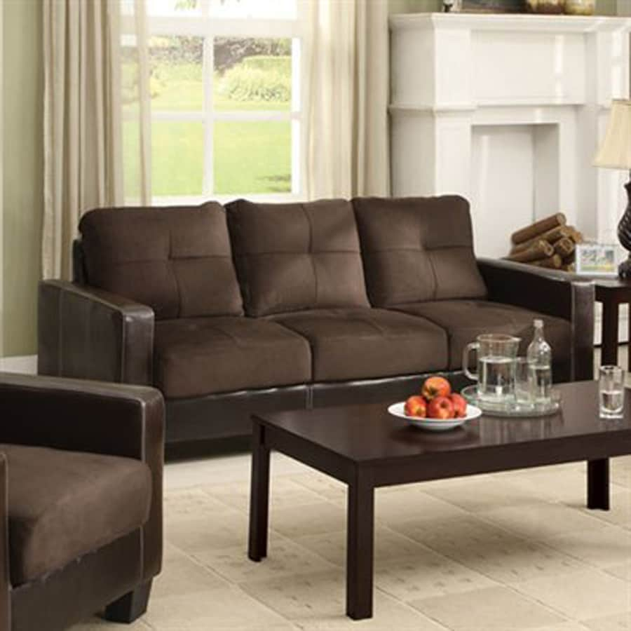 Furniture of america laverne casual dark brown espresso faux leather sofa