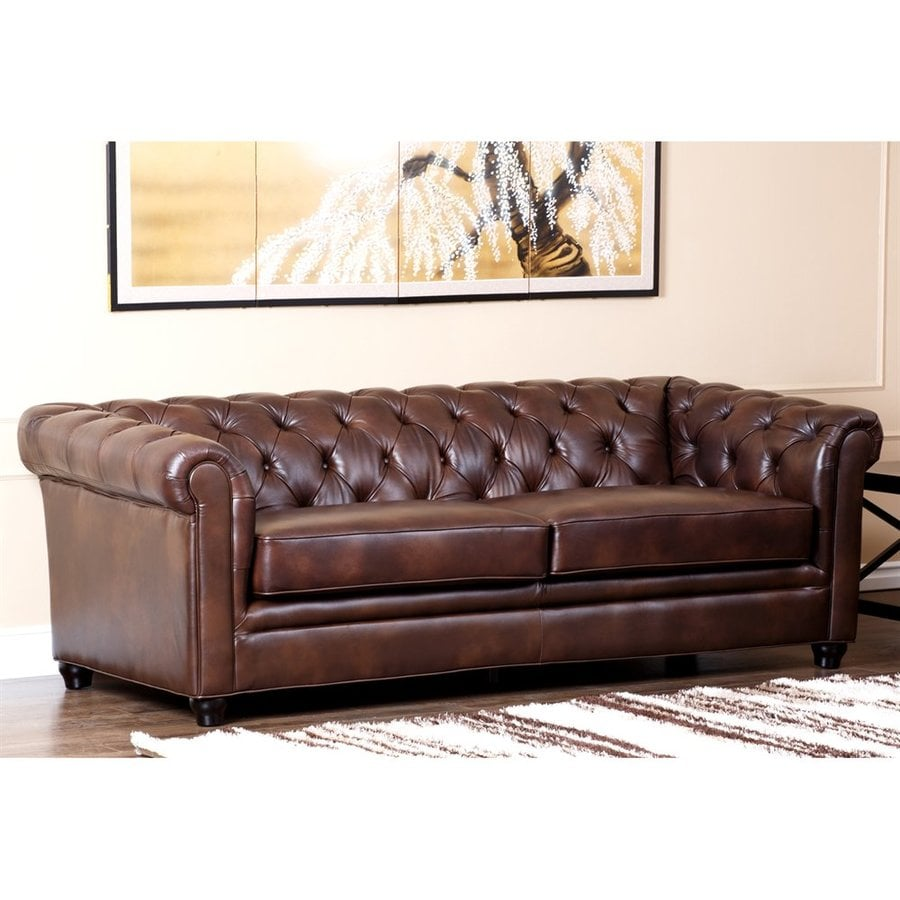 Pacific Loft Midcentury Chestnut Brown Genuine Leather Sofa
