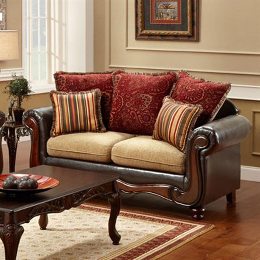 Furniture of America Banstead Vintage Light Brown/Espresso Faux Leather Loveseat