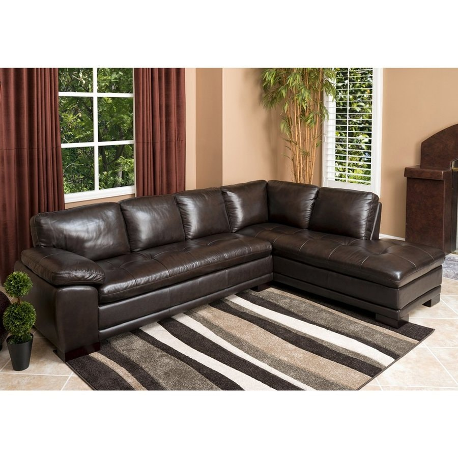 Pacific Loft Tekana Casual Dark Brown Genuine Leather Sectional