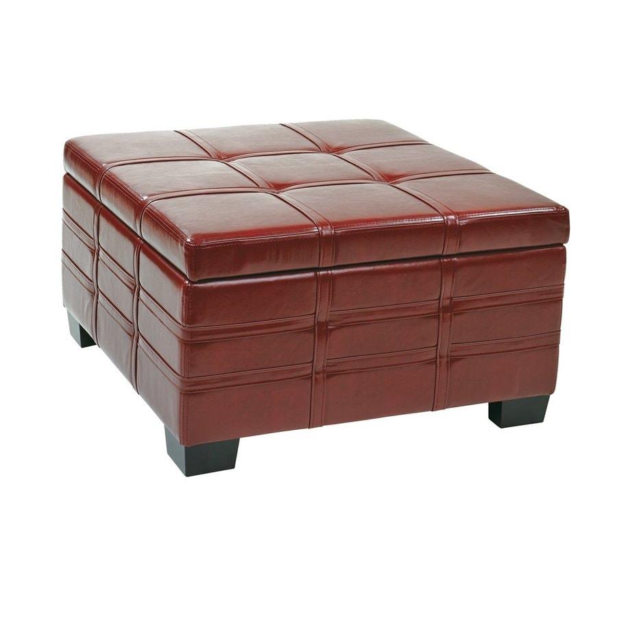 Office Star Detour Casual Crimson Faux Leather Storage Ottoman