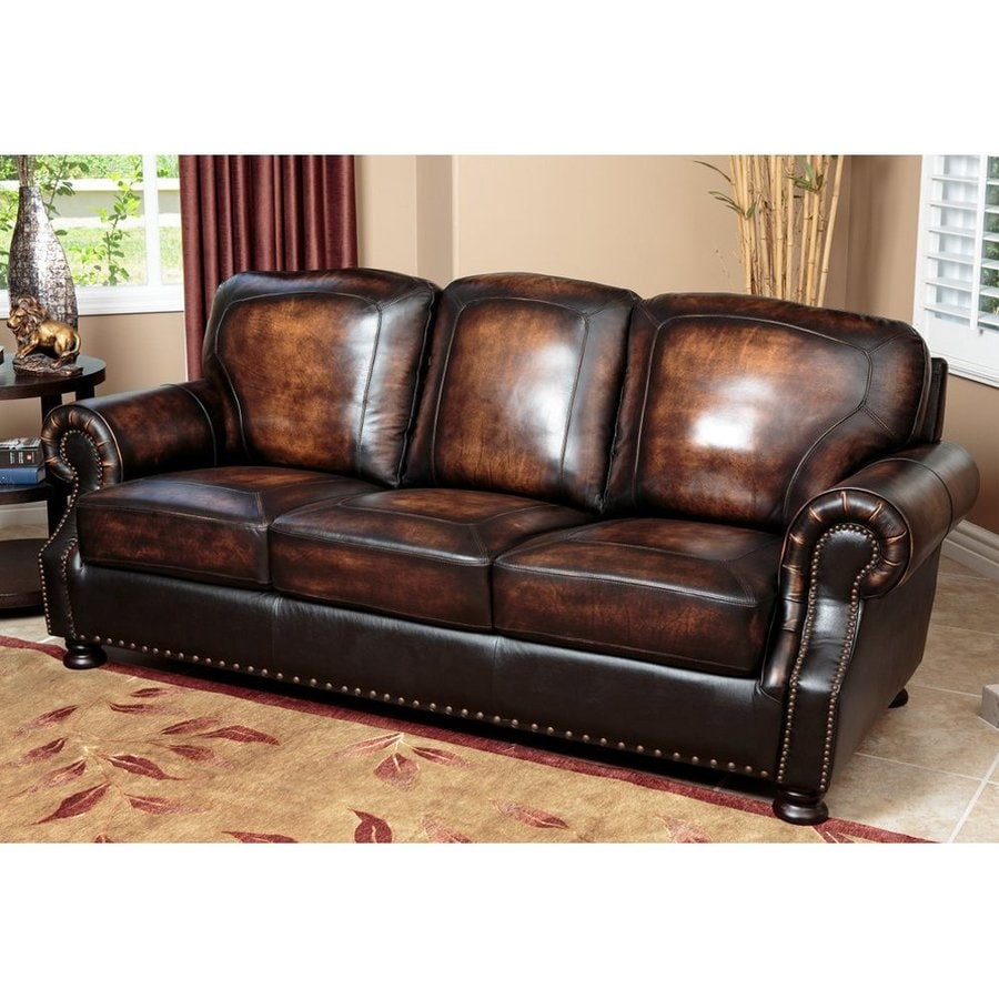 Pacific Loft Sienna Brown 2 Tone Genuine Leather Sofa