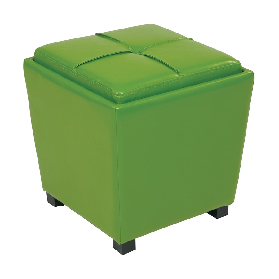 Office Star Metro Casual Green Vinyl Storage Ottoman
