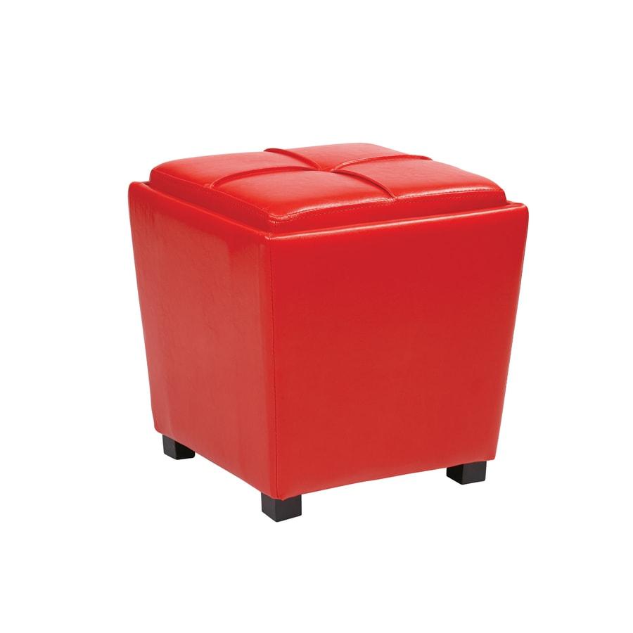 Office Star Metro Casual Red Vinyl Storage Ottoman