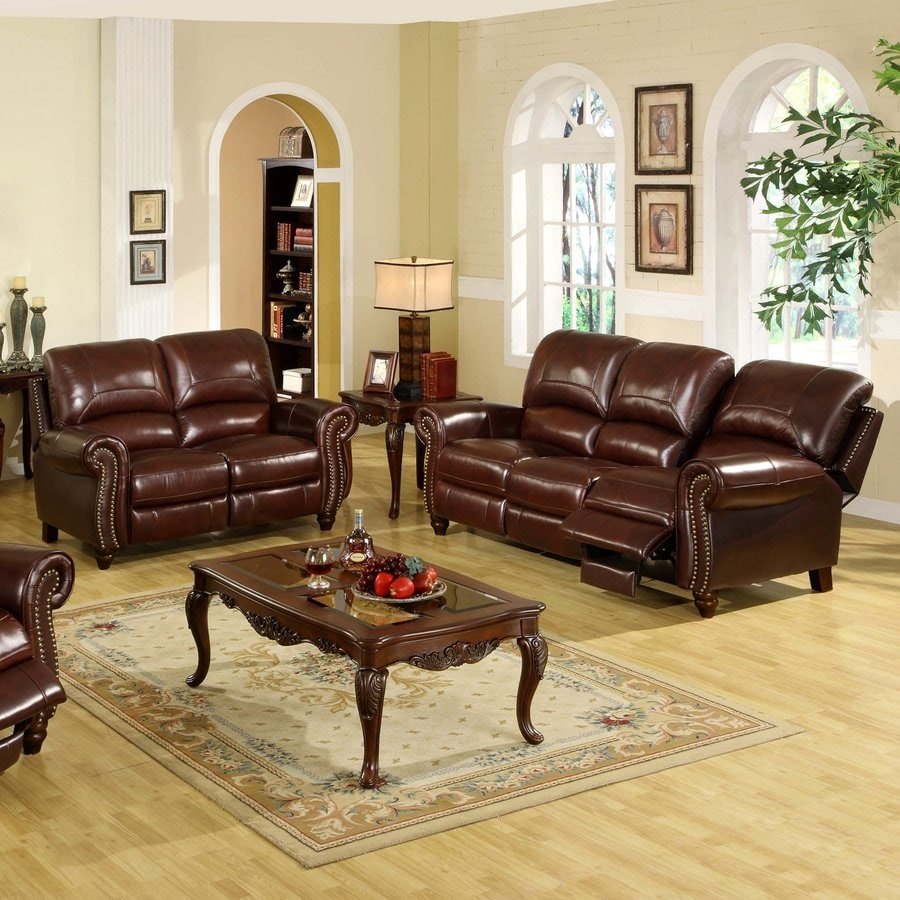 Pacific Loft 2-Piece Herzina Burgundy Living Room Set