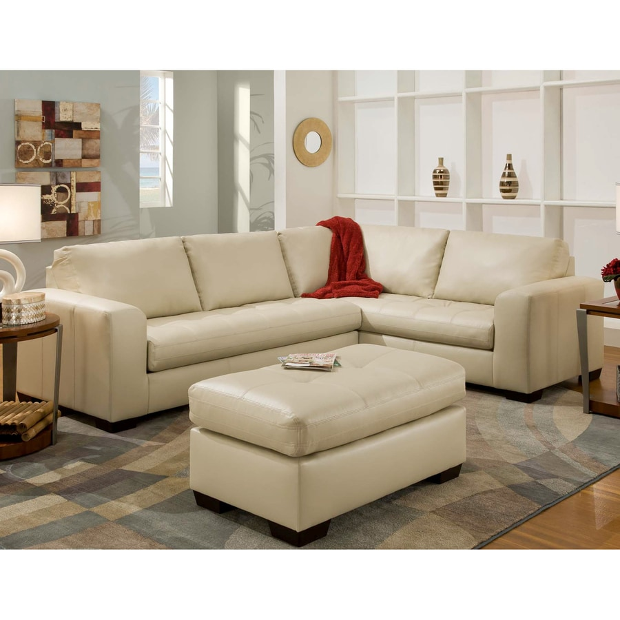 Chelsea Home Almeda Casual Apollo Bonded Match Bone Faux Leather Sectional