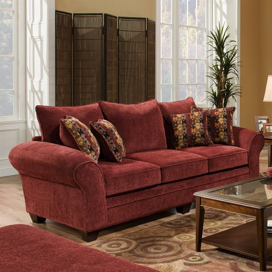Chelsea Home Clearlake Casual Masterpiece Burgundy Sofa