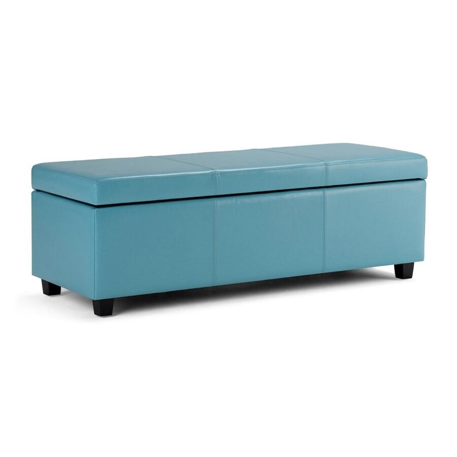 Simpli Home Avalon Casual Blue Faux Leather Storage Ottoman