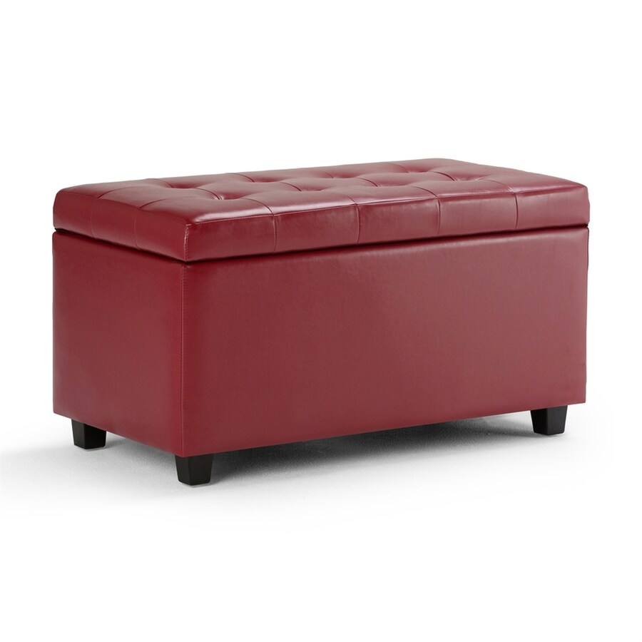 Simpli Home Cosmopolitan Casual Red Faux Leather Storage Ottoman