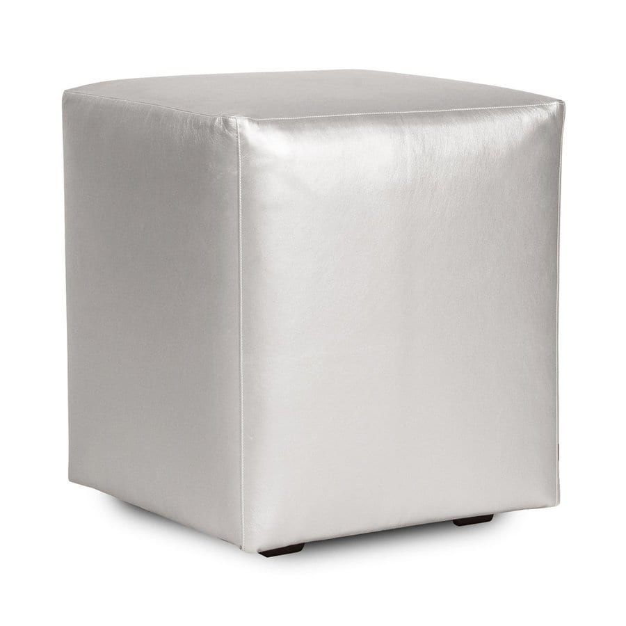 Tyler Dillon Shimmer Casual Mercury Faux Leather Ottoman