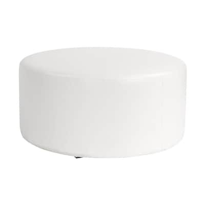 Tremendous Tyler Dillon Avanti Casual White Faux Leather Round Ottoman Gmtry Best Dining Table And Chair Ideas Images Gmtryco