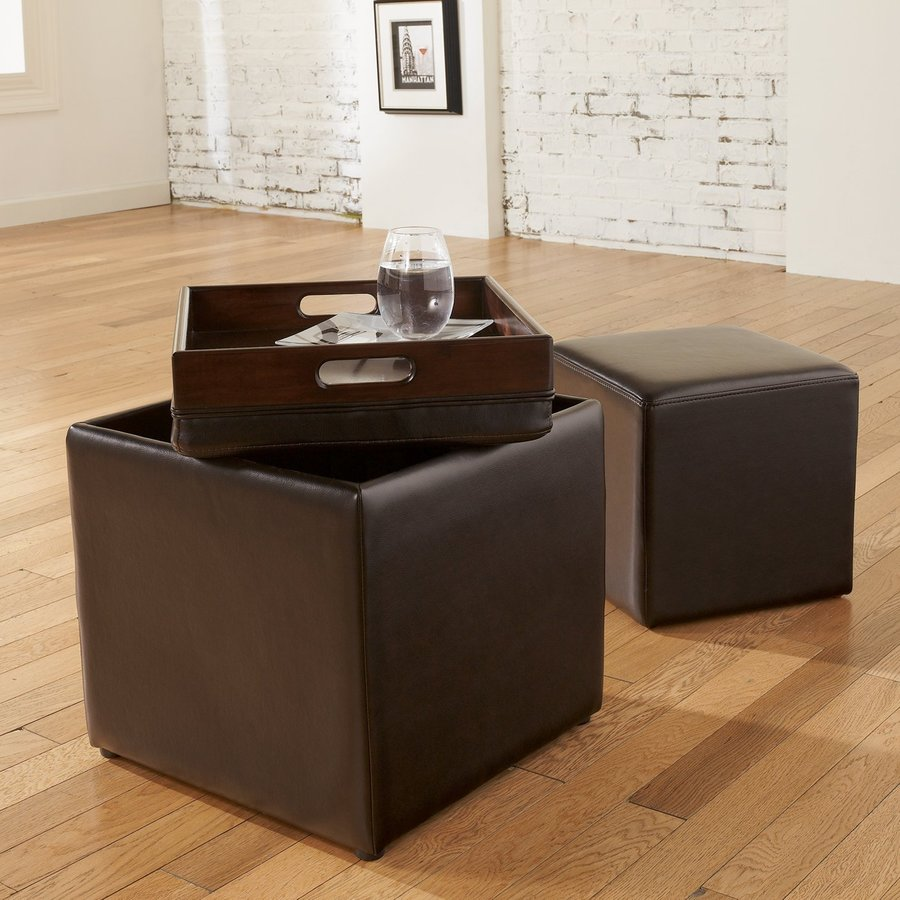 Signature Design by Ashley Cubit Modern Chocolate Storage Ottoman