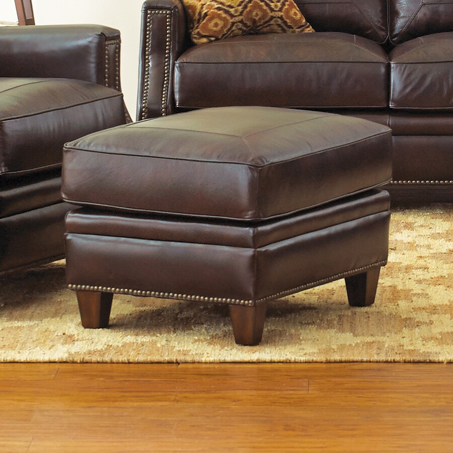 Steve Silver Company Caldwell Casual Walnut Leather Ottoman