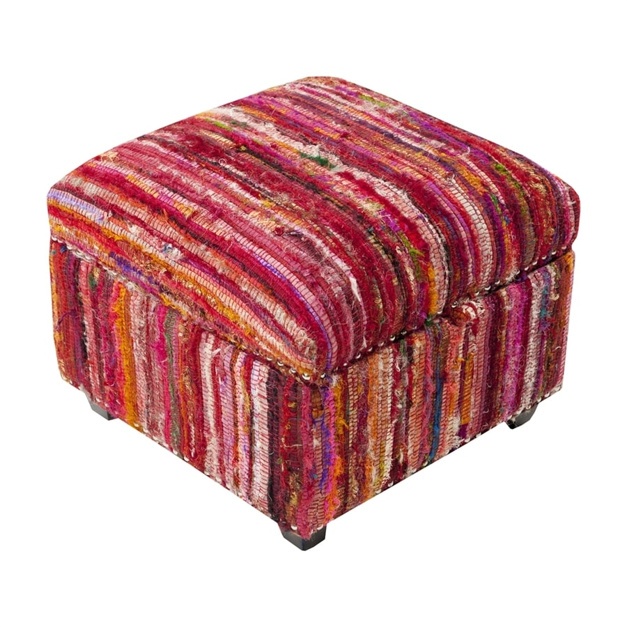 Surya Saturday Night Eclectic Red Storage Ottoman