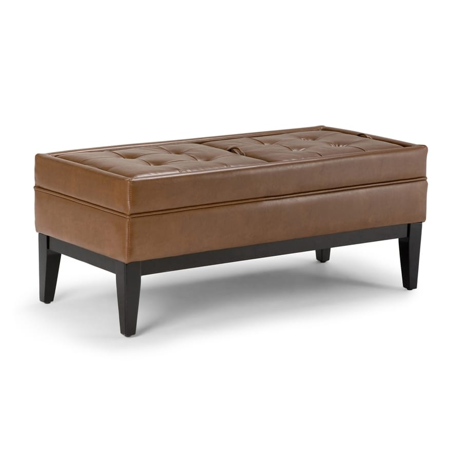 Simpli Home Castlerock Casual Burnt Umber Faux Leather Storage Ottoman
