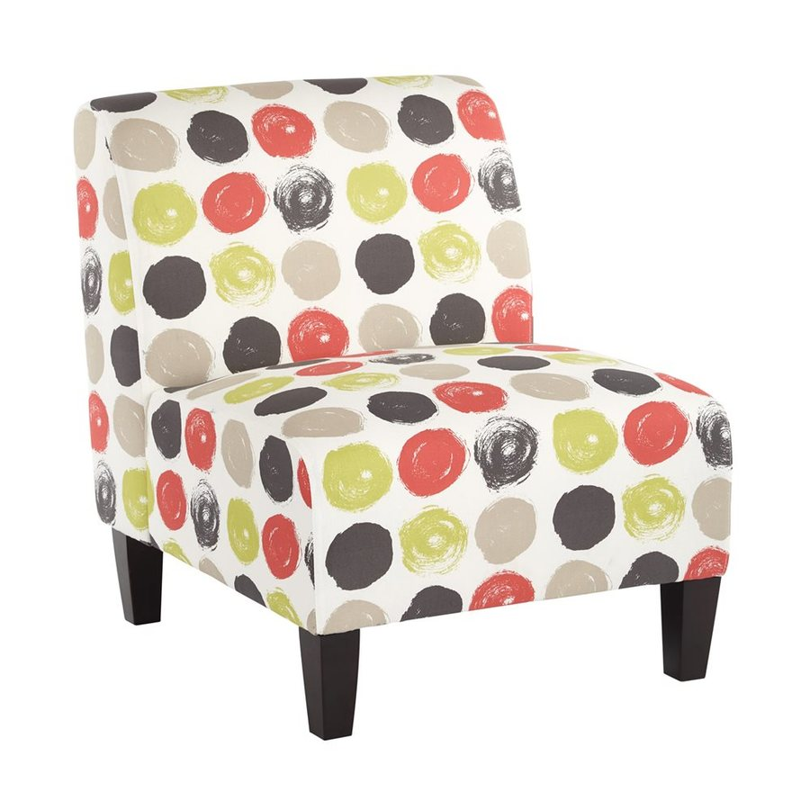 Office Star Set Of 1 Magnolia Eclectic Brushed Dot Poppy Cotton Accent Chair