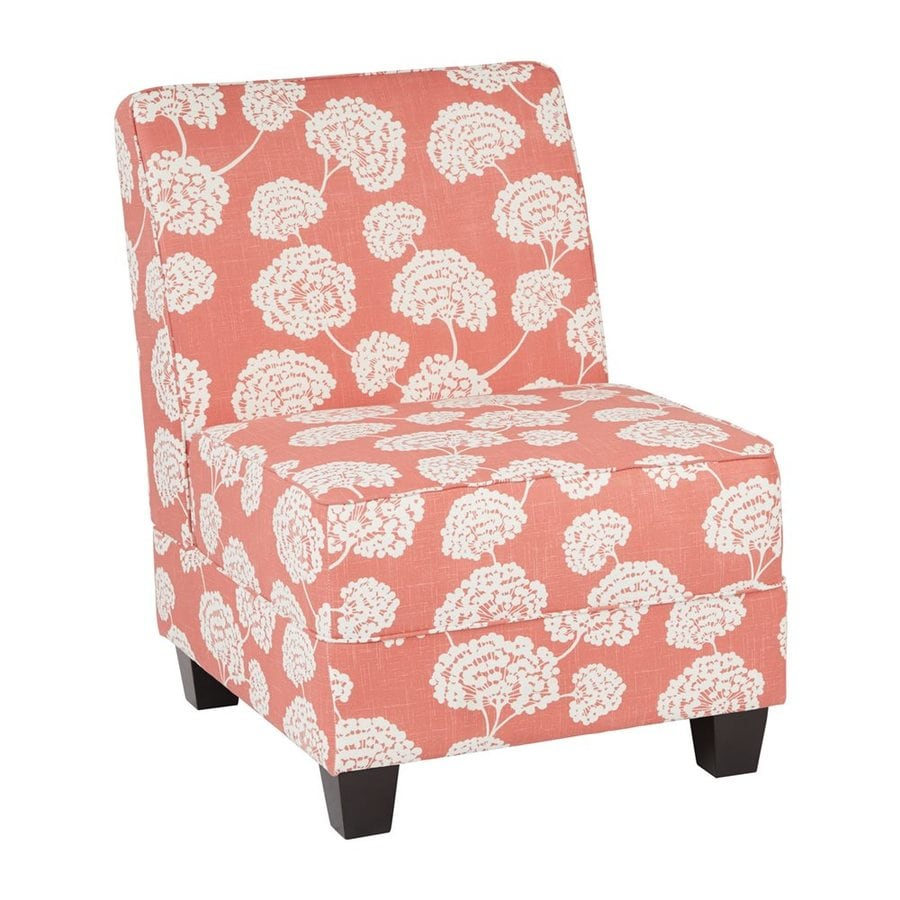 Office Star Milan Casual Toile Stems Coral Polyester Accent Chair