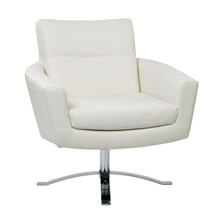 Office Star Nova Modern White Faux Leather Club Chair