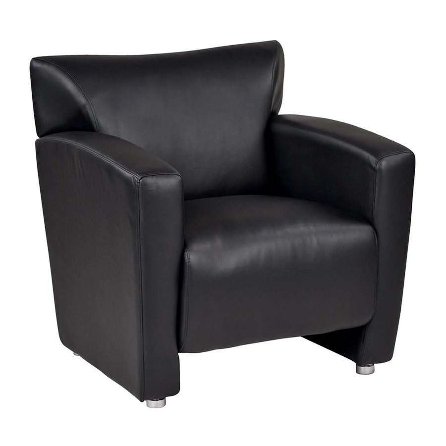 Office Star Set Of 1 Osp Furniture Casual Black Faux Leather Club Chair