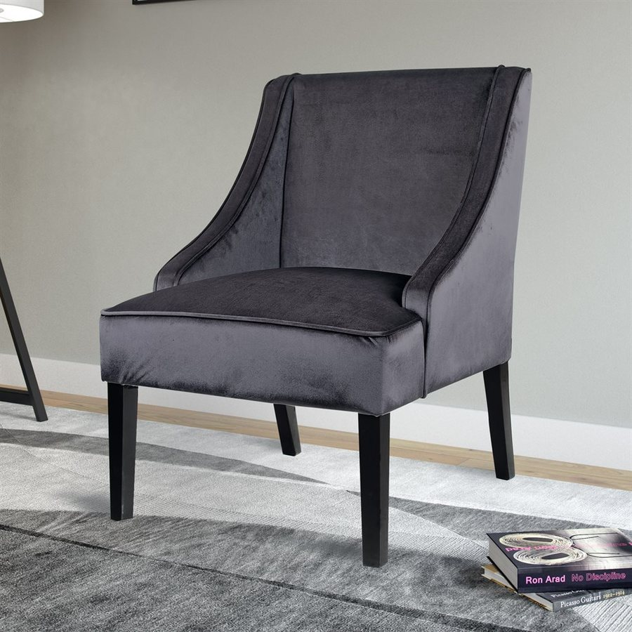 CorLiving Antonio Casual Dark Grey Velvet Slipper Chair