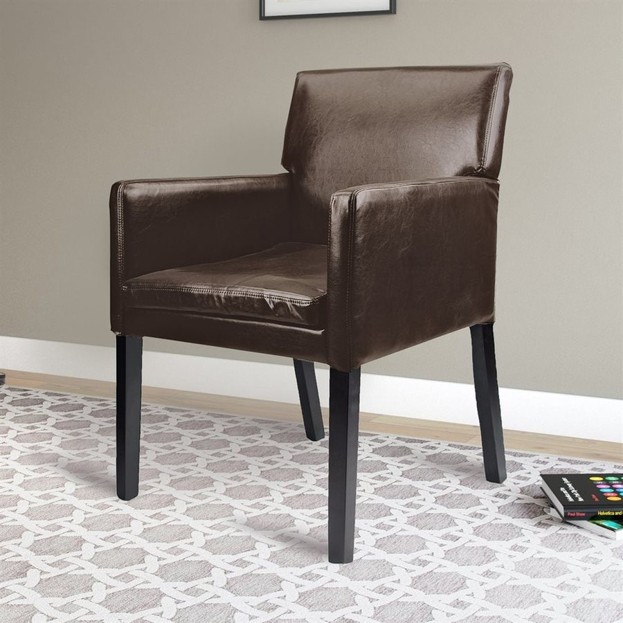 CorLiving Antonio Casual Matte Dark Brown Faux Leather Accent Chair