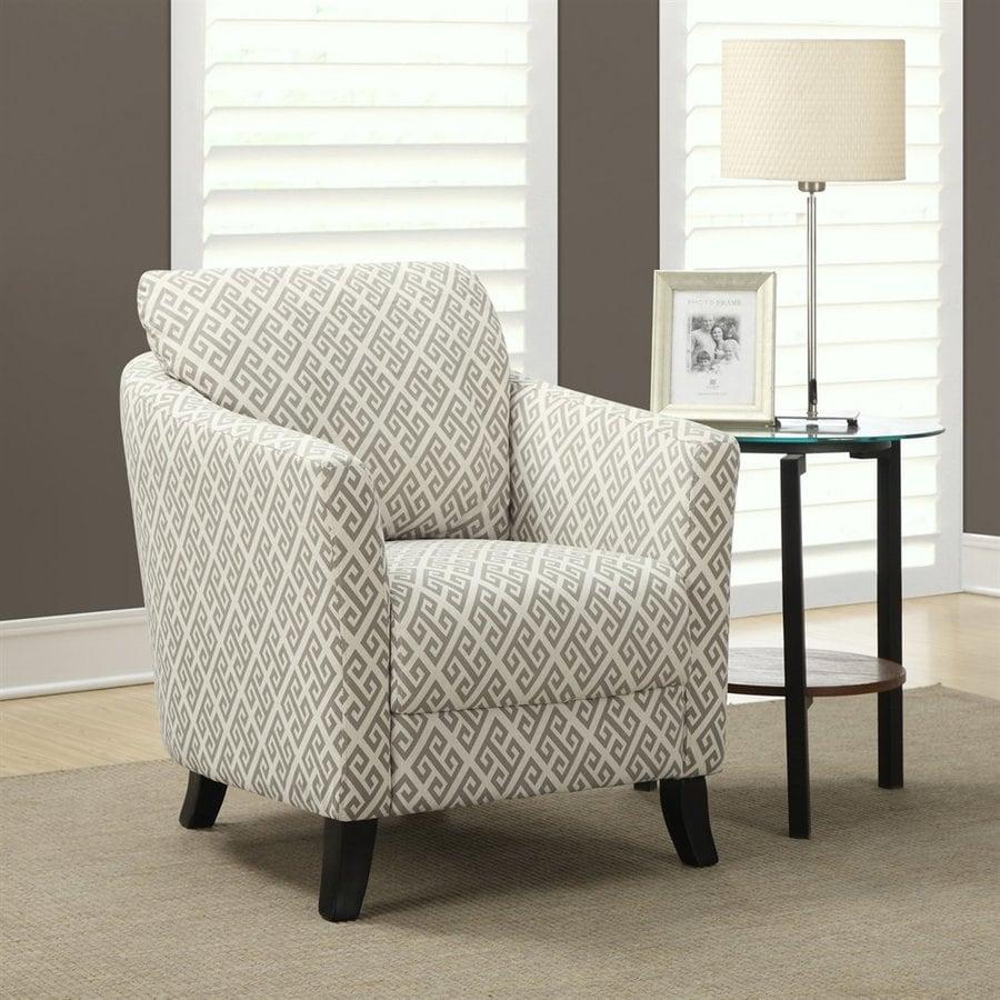 Monarch Specialties Casual Sandstone/Grey Maze Linen Club Chair