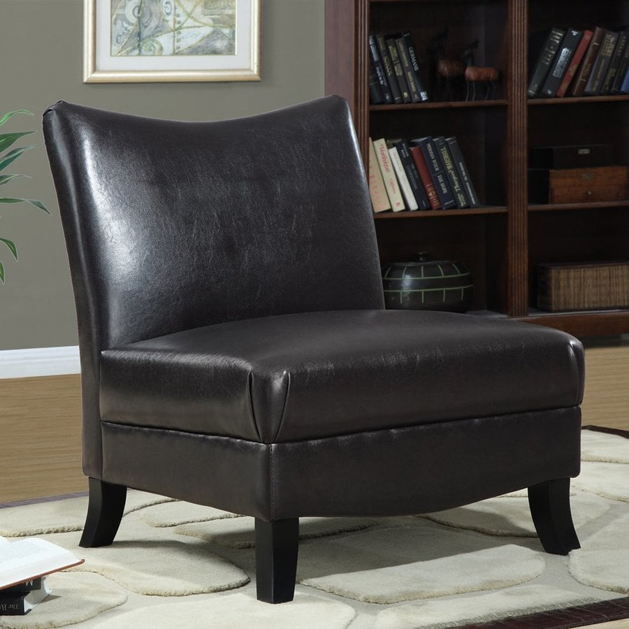Monarch Specialties Casual Dark Brown Faux Leather Slipper Chair