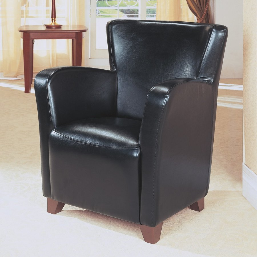 Monarch Specialties Casual Black Faux Leather Club Chair