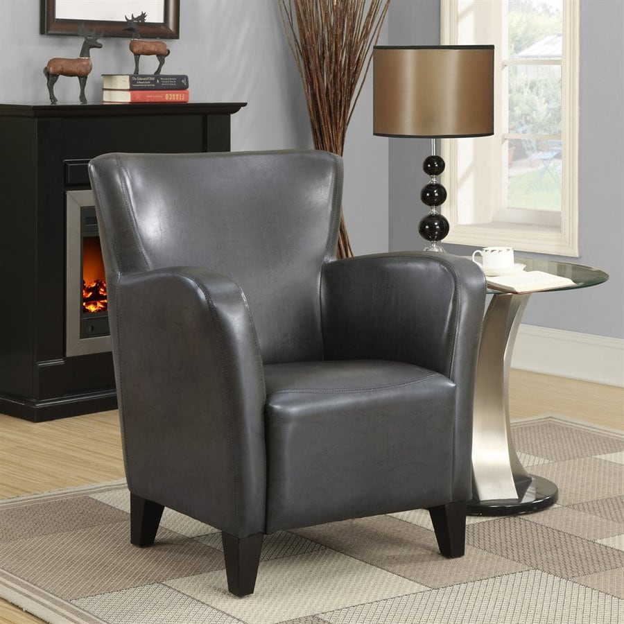 Monarch Specialties Europa Casual Charcoal Faux Leather Club Chair