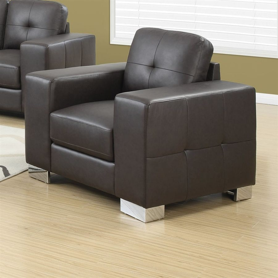 Monarch Specialties Casual Dark Brown Faux Leather Club Chair