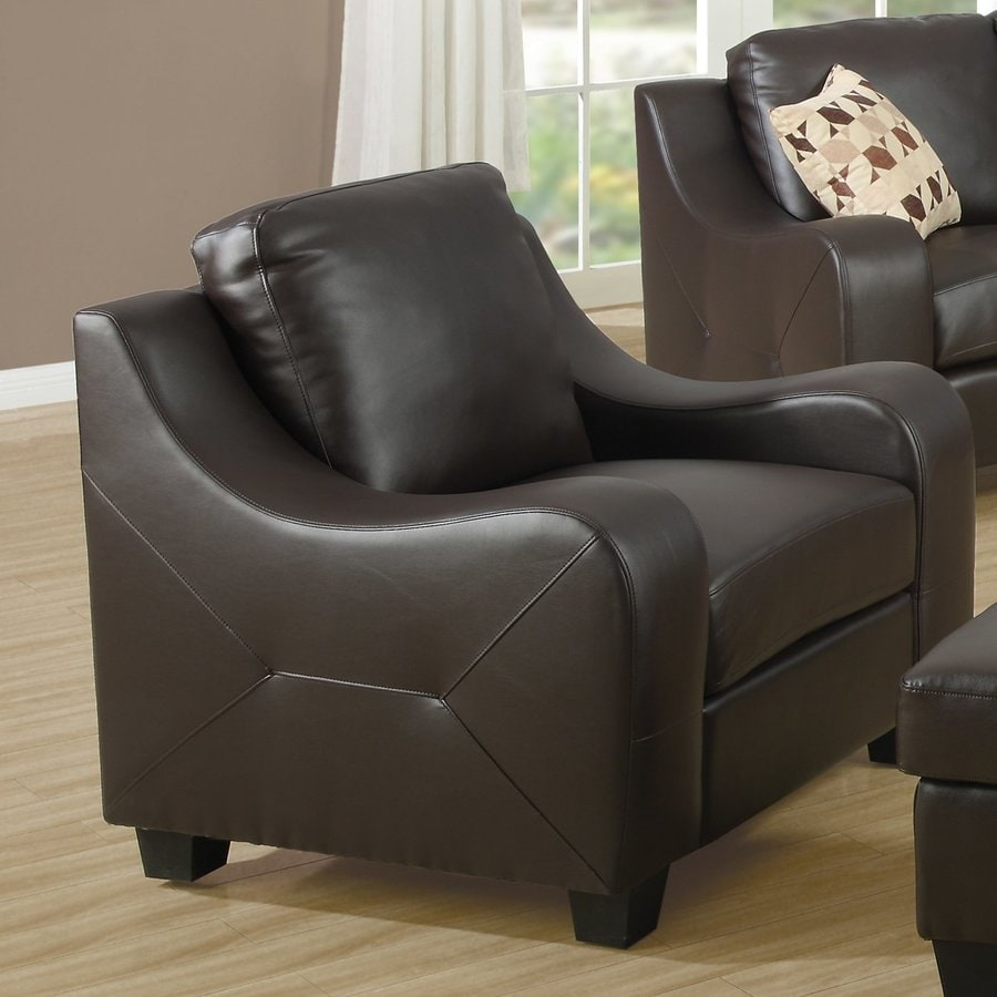 Monarch Specialties Casual Chocolate Brown Faux Leather Club Chair