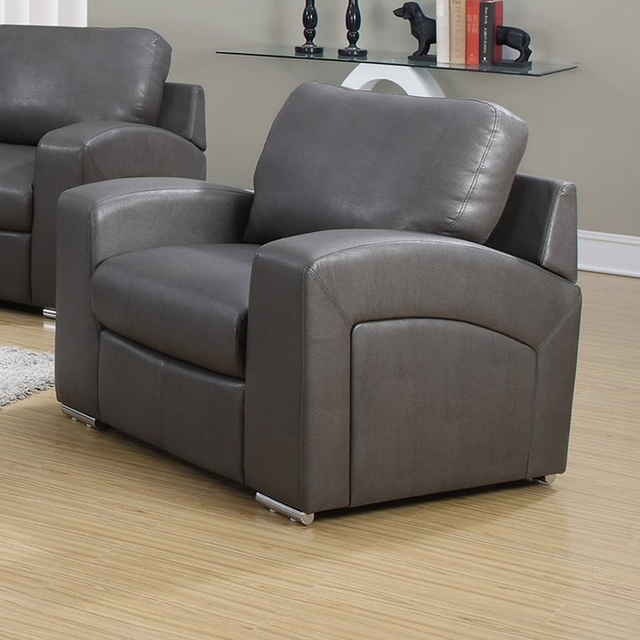 Monarch Specialties Casual Charcoal Faux Leather Club Chair