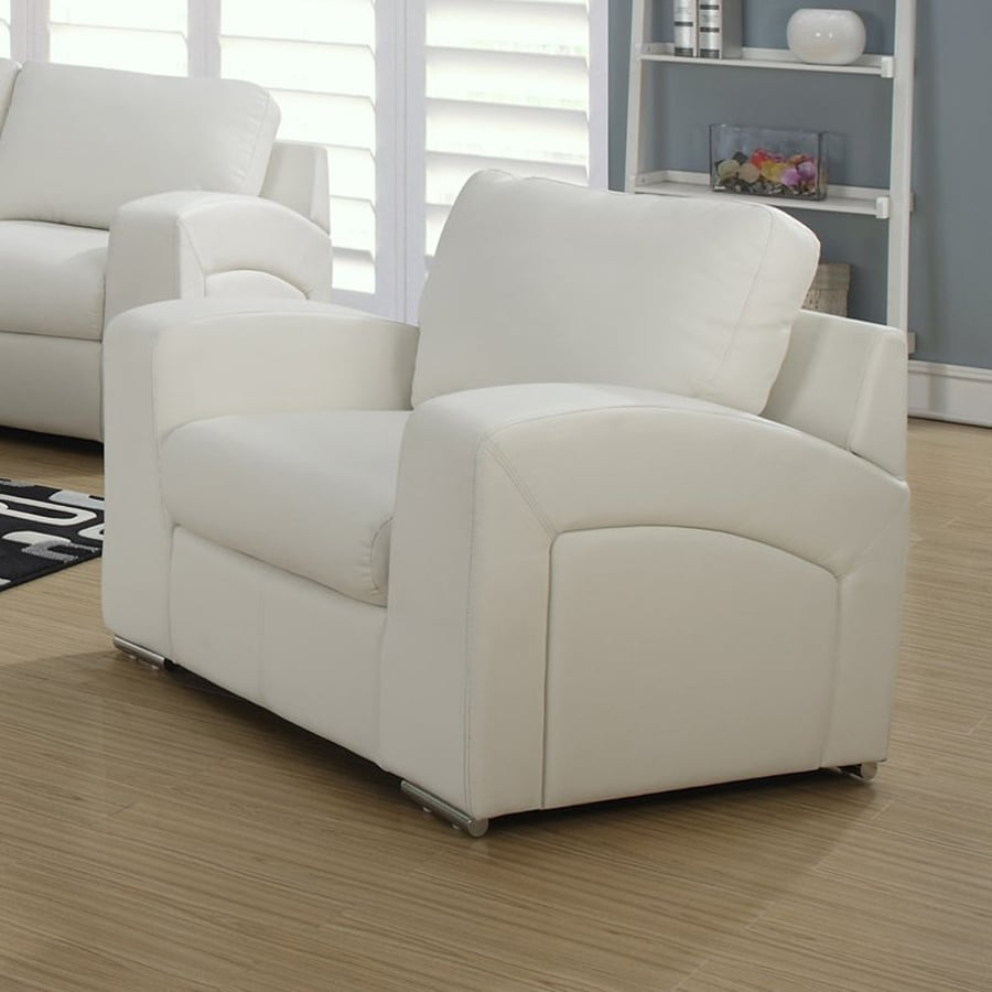 Monarch Specialties Casual White Faux Leather Club Chair