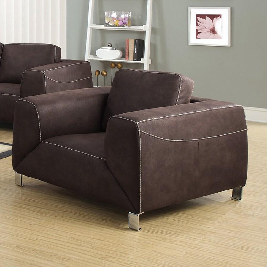 Monarch Specialties Casual Chocolate Brown Microfiber Club Chair