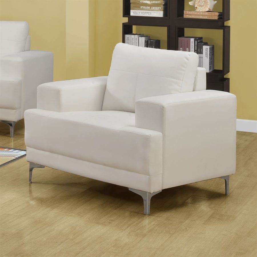 Monarch Specialties Casual Ivory Faux Leather Club Chair