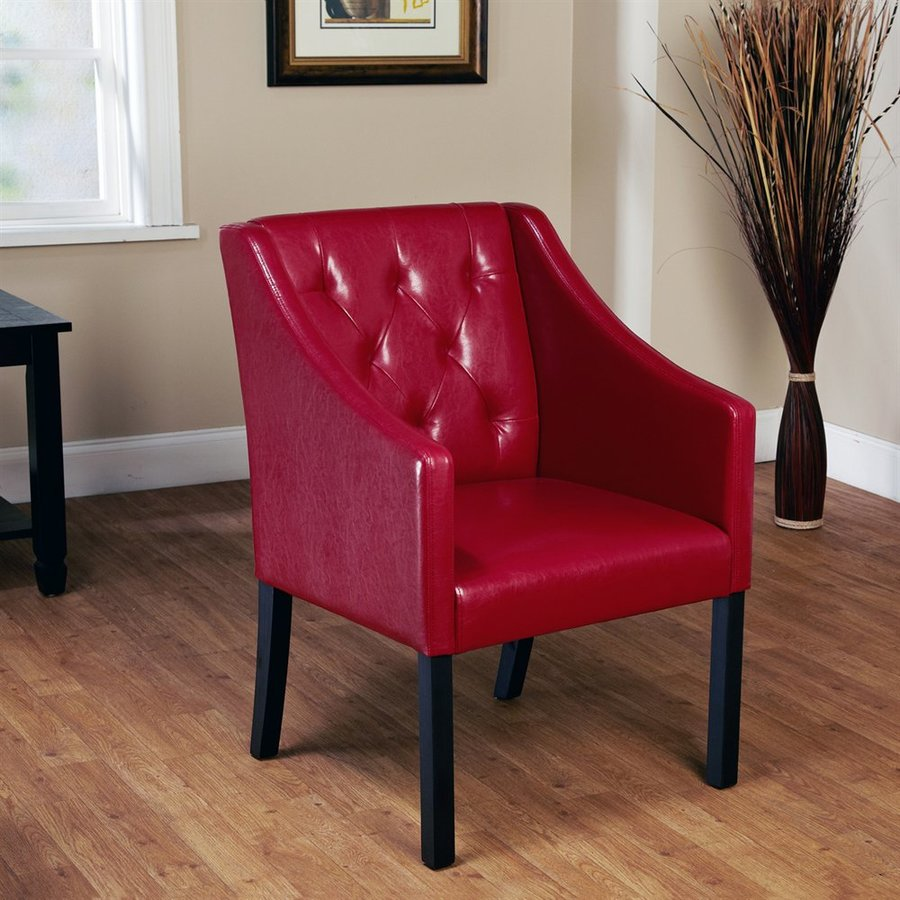 Small Red Leather Accent Chair: TMS Furniture Casual Red Wine Faux Leather Accent Chair At