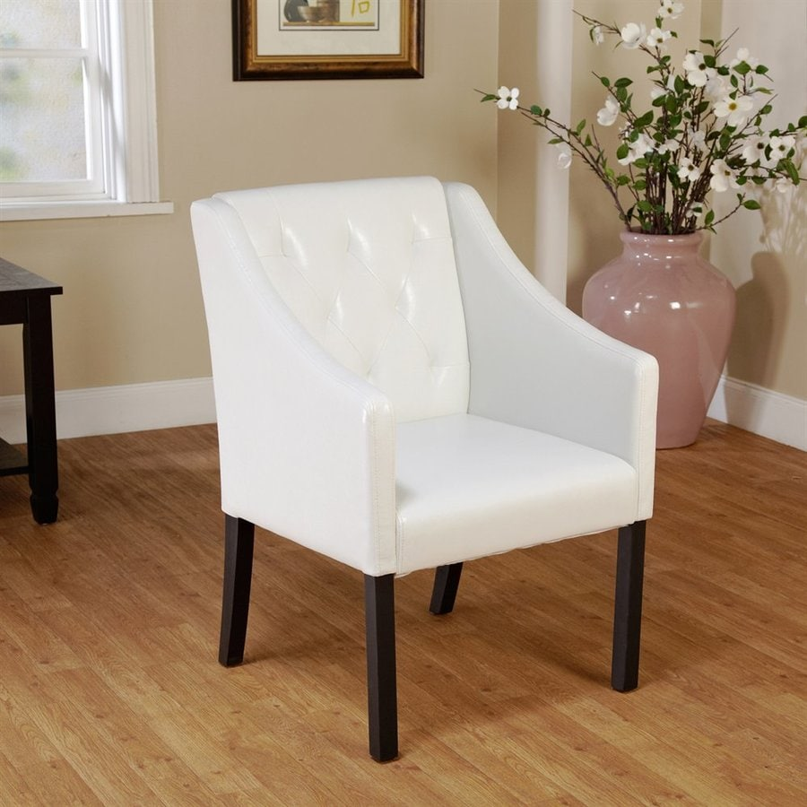 TMS Furniture Casual White Faux Leather Accent Chair