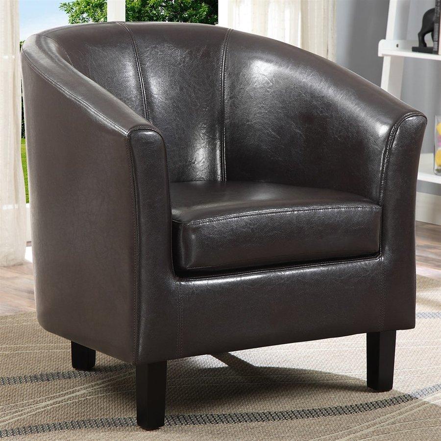 Simpli Home Austin Casual Dark Brown Faux Leather Club Chair