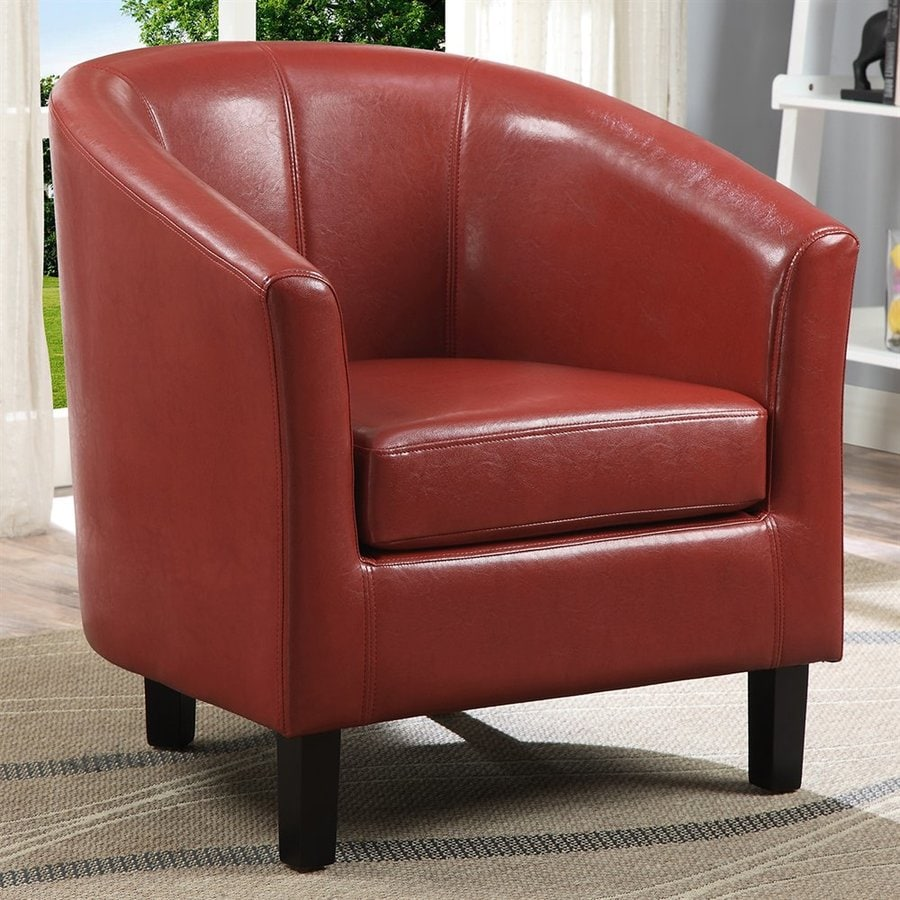 Simpli Home Austin Casual Red Faux Leather Club Chair