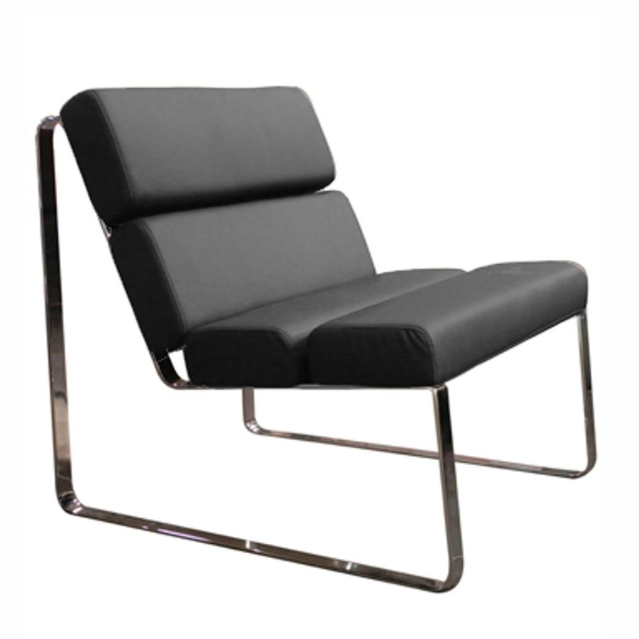 Whiteline Imports Angel Modern Black Faux Leather Accent Chair