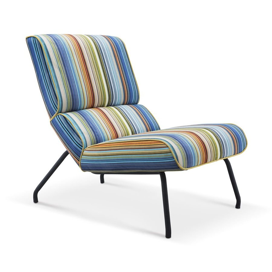 Whiteline Imports Elouise Midcentury Multi-Colored Stripe Accent Chair