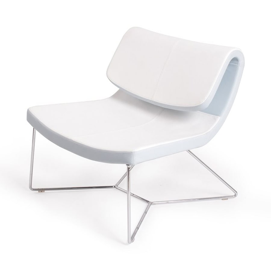 J&M Furniture Hollywood Modern White Faux Leather Accent Chair